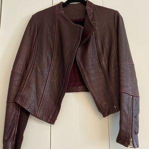 Vince burgundy real leather jacket